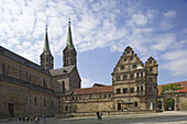 Cathedral, the old court and the Schöne Pforte-gate, Bamberg, Upper Franconia, Bavaria, Germany