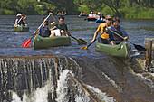 Canoeing on the Vltava river, South Bohemia, Sumava, Czech republic