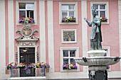 Main square, Willibald fountain, Eichstaett, Upper Bavaria, Bavaria, Germany