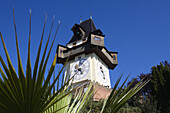The clock tower on the top of Schlossberg is a Graz landmark, Styria, Austria