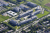 Aerial shot of the Max Planck Society building, Martinsried, Munich, Upper Bavaria, Bavaria, Germany