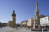 Main square with town hall and plague column, Retz, Lower Austria, Austria