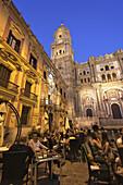 Cafe in Plaza del Obispo, cathedral in background, Malaga, Andalusia, Spain