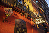 Exterior view of the flamenco restaurant Corral de la Maoreira in the evening, Madrid, Spain