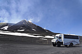 Mount Etna, jeep in foreground, Sicily, Italy