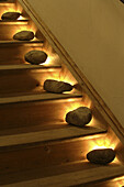Stones on staircase, Fraueninsel, Lake Chiemsee, Bavaria, Germany