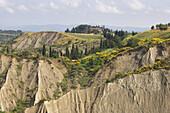 Eroded hills at the Benedictine monastery Monte Olivieto Maggiore, Tuscany, Italy