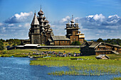 Transfiguration Church  1714) and Intercession Church  1764), open-air museum of Russian wooden architecture of Kizhi, Lake Onega, Republic of Karelia, Russia