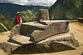 Intihuatana solar clock, Machu Picchu sacred city of the Inca empire, Cusco region, Peru