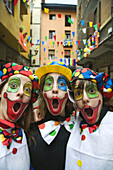 Girls dressed as clowns, carnival, Tolosa. Guipuzcoa, Basque Country, Spain