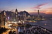 Sunset at Hong Kong Island from Causeway, Hong Kong, China  November 2008)