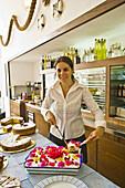 Al Pescatore restaurant and bar, serving the Torta SantAngelo  dessert), SantAngelo, Serrara Fontana, Ischia. Campania, Italy