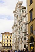 Façade of Santa Maria del Fiore cathedral in Piazza del Duomo, Florence. Tuscany, Italy