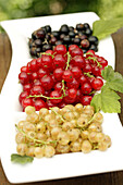 Red currants, black currants, white currants.