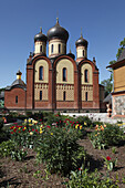 onion domes of russian orthodox monastery Puehtitsa in Northern Estonia, Baltic State, Europe.