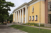 facade of a classicistic building downtown in the city of Viljandi, Estonia, Baltic State, Eastern Europe.
