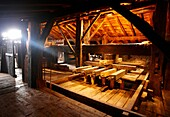 Cider press beam, Igartubeiti Farmhouse Museum, Ezkio-Itsaso, Guipuzcoa, Basque Country, Spain