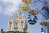 Amusement Park and Sagrat Cor Church on Tibidabo mountain, Barcelona, Catalonia, Spain