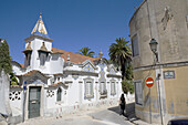House in typical architectural style with tile ornaments in Cascais near Lisbon, Portugal