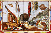 Painting on ceramic tiles of Andalusian food. Malaga, Andalusia, Spain