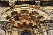 Detail of façade of church in Saintonge Romanesque style  12th century) at Petit Palais, Gironde, Aquitaine, France