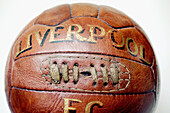 Aged, Ball, Balls, Clipping path, Close-up, Closeup, Color, Colour, Football, Horizontal, Inscription, Inscriptions, Liverpool FC, Object, Objects, Old, Old fashioned, Old-fashioned, One, One item, Single item, Soccer, Sport, Sports, Still life, Studio sh