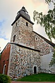 Finland, Western Finland, Naantali, view of the baroque style belfry of Loustarikirkko, the mediaeval convent church