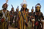 Wodaabe  or Bororo) men in the Cure Salee festival, Niger