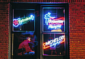 Neon signs on Beale Street, Memphis. Tennessee, USA