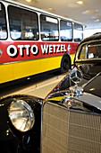 Detail of Mercedes star hood ornament, Mercedes Benz Museum, Stuttgart, Baden-Wurttemberg, Germany