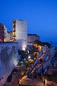 Italy, Sardinia, Cagliari, Il Castello Old Town, Torre dell´ Elefante tower, evening