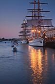 USA,Massachusetts, Boston, Sail Boston Tall Ships Festival, tall ships at World Trade Center, evening