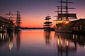 USA,Massachusetts, Boston, Sail Boston Tall Ships Festival, tall ships by World Trade Center, dawn