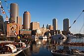 USA,Massachusetts, Boston, Sail Boston Tall Ships Festival, Rowes Wharf from tall ships, morning