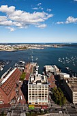USA, Massachusetts, Boston, waterfront and view towards Logan Airport from Marriott Customs House Tower Hotel, high angle view