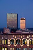 USA, Massachusetts, Boston, Back Bay, John Hancock and Prudential buildings from 75 State Street, high angle view, dawn