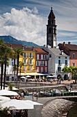 Switzerland, Ticino, Lake Maggiore, Ascona, Piazza Motta and lakefront