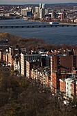 USA, Massachusetts, Boston, Beacon Street and Charles River, high angle view, daytime