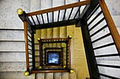 USA, West Virginia, Charleston, West Virginia State Capitol, staircase to the legislative chamber galleries