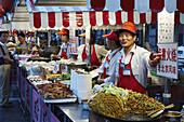 Food stalls at Donghua Yeshi Night Market, Beijing, China