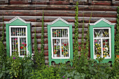 19th Century, Architectural detail, Architectural details, cities, city, Color, Colour, Daytime, Europe, exterior, Facade, Façade, Facades, Façades, Green, Horizontal, House, Houses, Nineteenth Century, outdoor, outdoors, outside, Russia, Three, Tomsk, Wi