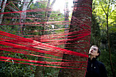Red threads at trees at bamboo temple, temple of Tang dynasty, Kunming, Yunnan, People's Republic of China, Asia