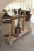 Antique wine press at wine museum Museo del Vino, Berchidda, Sardinia, Italy, Europe