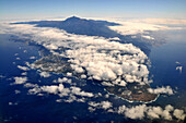 Aerial view of west coast and Teide, Tenerife, Canary Isles, Spain, Europe