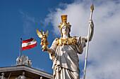 Sculpture, Pallas Athene, in front of the Austrian Parliament building, Vienna, Austria