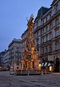 Plague Column in the evening light, Graben, Vienna, Austria