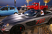 Luxury cars at Jumeirah Beach Residence in the evening, Dubai, UAE, United Arab Emirates, Middle East, Asia