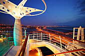 Deck and railing on cruise ship AIDA Bella in the evening, Mediterranean Sea