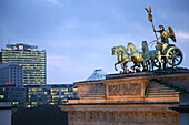 Quadriga, Brandenburg Gate and BahnTower in the evening, Berlin, Germany, Europe