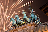 Quadriga, New Years Eve at Brandenburg Gate, Berlin, Germany, Europe